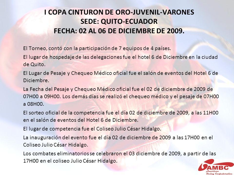 I COPA CINTURON DE ORO-JUVENIL-VARONES SEDE: QUITO-ECUADOR FECHA: 02 AL 06 DE DICIEMBRE DE 2009. El Torneo, contó con la participación de 7 equipos de