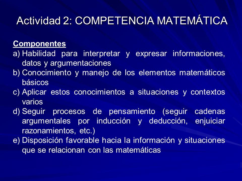 Actividad 2: COMPETENCIA MATEMÁTICA Componentes a)Habilidad para interpretar y expresar informaciones, datos y argumentaciones b)Conocimiento y manejo