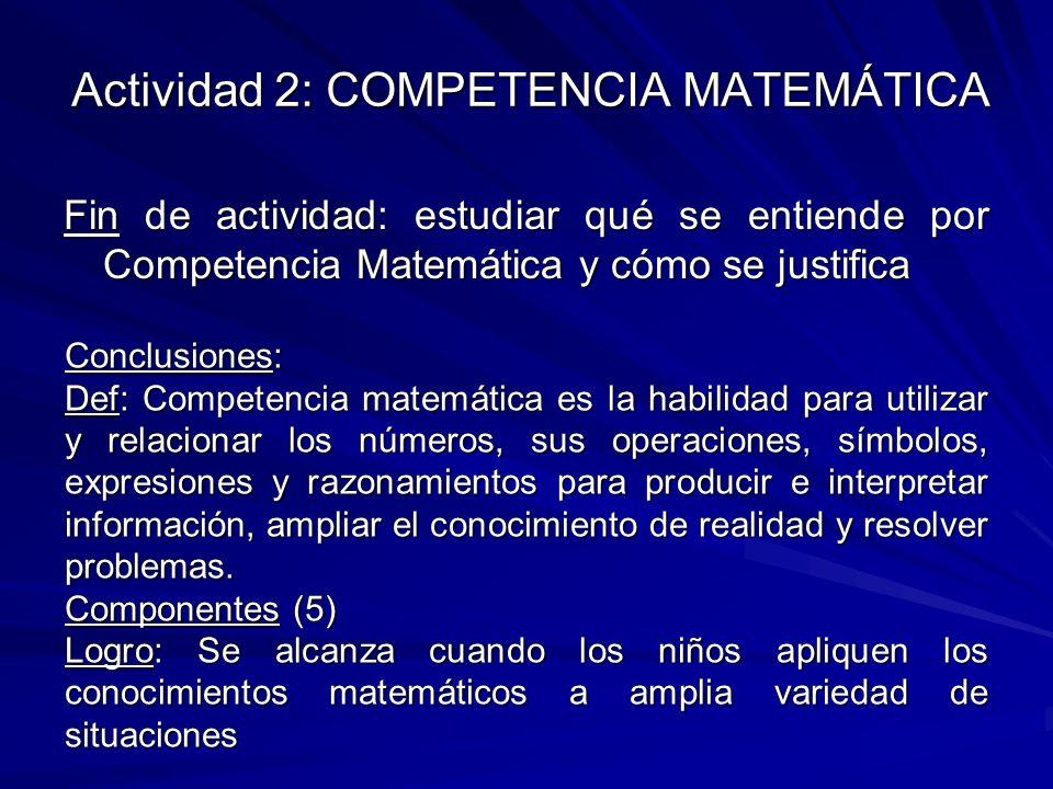 Actividad 2: COMPETENCIA MATEMÁTICA Fin de actividad: estudiar qué se entiende por Competencia Matemática y cómo se justifica Conclusiones: Def: Compe