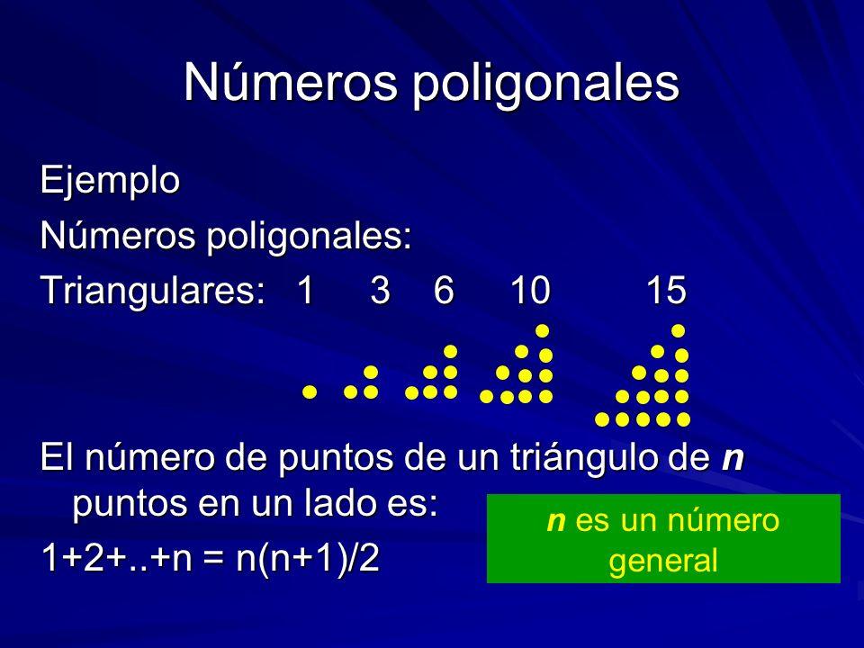 Números poligonales Ejemplo Números poligonales: Triangulares: 1 3 6 1015 El número de puntos de un triángulo de n puntos en un lado es: 1+2+..+n = n(