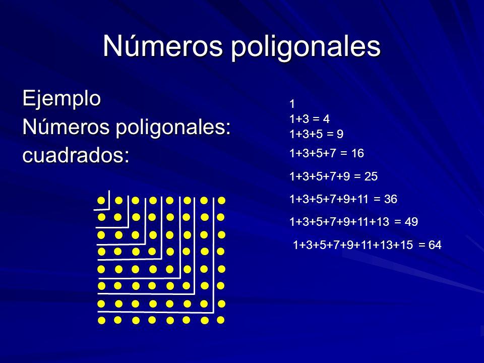 Números poligonales Ejemplo Números poligonales: cuadrados: 1 1+3 = 4 1+3+5 = 9 1+3+5+7 = 16 1+3+5+7+9 = 25 1+3+5+7+9+11 = 36 1+3+5+7+9+11+13 = 49 1+3