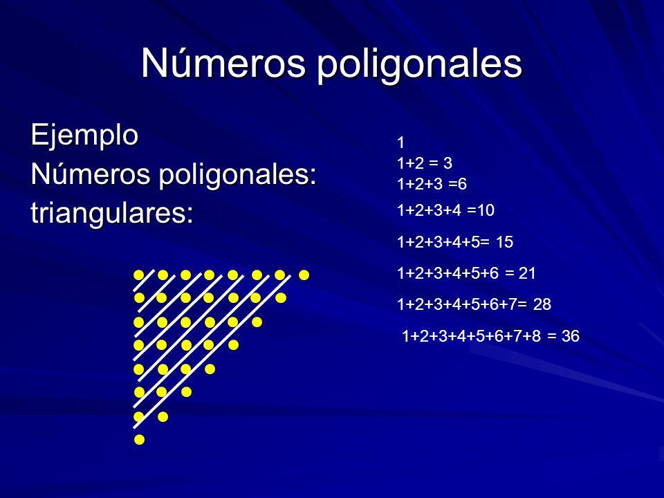Números poligonales Ejemplo Números poligonales: triangulares: 1 1+2 = 3 1+2+3 =6 1+2+3+4 =10 1+2+3+4+5= 15 1+2+3+4+5+6 = 21 1+2+3+4+5+6+7= 28 1+2+3+4
