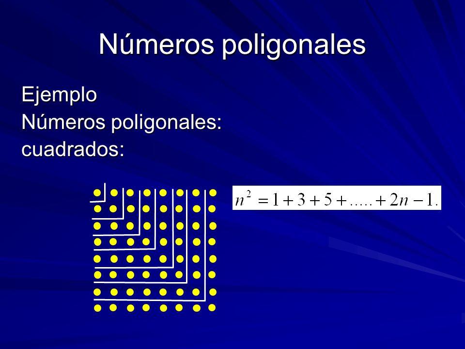 Números poligonales Ejemplo Números poligonales: cuadrados: