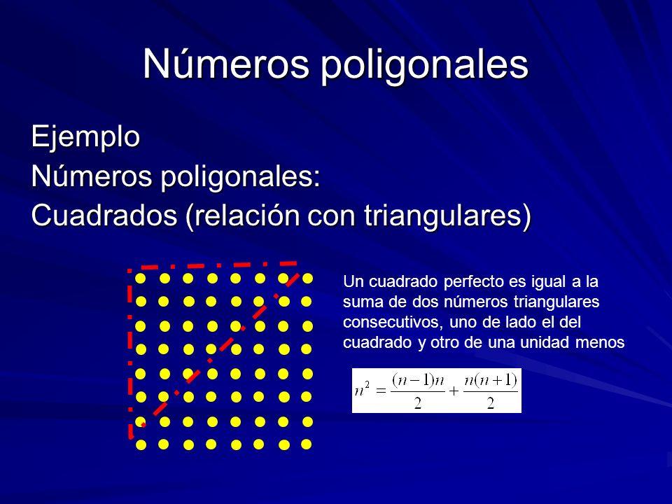 Números poligonales Ejemplo Números poligonales: Cuadrados (relación con triangulares) Un cuadrado perfecto es igual a la suma de dos números triangul