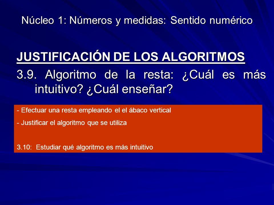 Núcleo 1: Números y medidas: Sentido numérico JUSTIFICACIÓN DE LOS ALGORITMOS 3.9. Algoritmo de la resta: ¿Cuál es más intuitivo? ¿Cuál enseñar? - Efe