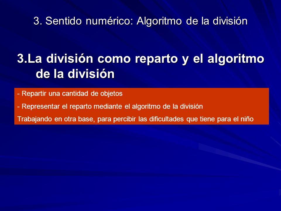 3. Sentido numérico: Algoritmo de la división 3.La división como reparto y el algoritmo de la división - Repartir una cantidad de objetos - Representa
