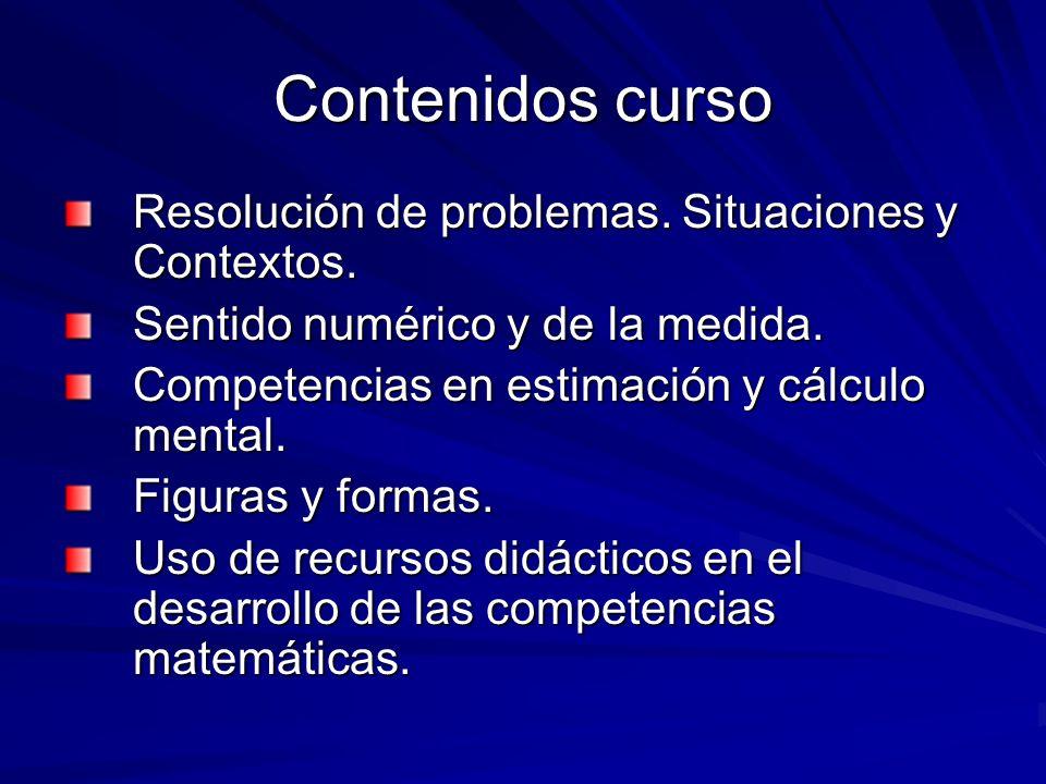 Contenidos curso Resolución de problemas. Situaciones y Contextos. Sentido numérico y de la medida. Competencias en estimación y cálculo mental. Figur
