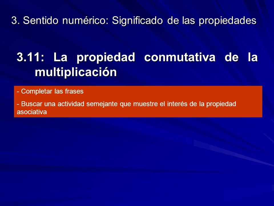 3. Sentido numérico: Significado de las propiedades 3.11: La propiedad conmutativa de la multiplicación - Completar las frases - Buscar una actividad