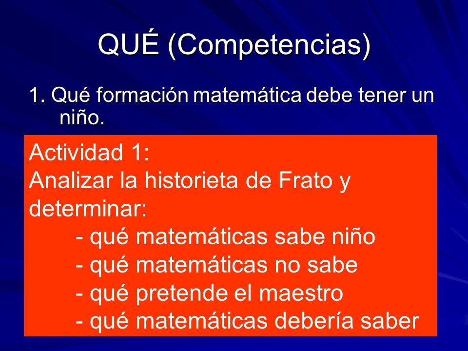 QUÉ (Competencias) 1. Qué formación matemática debe tener un niño. Actividad 1: Analizar la historieta de Frato y determinar: - qué matemáticas sabe n
