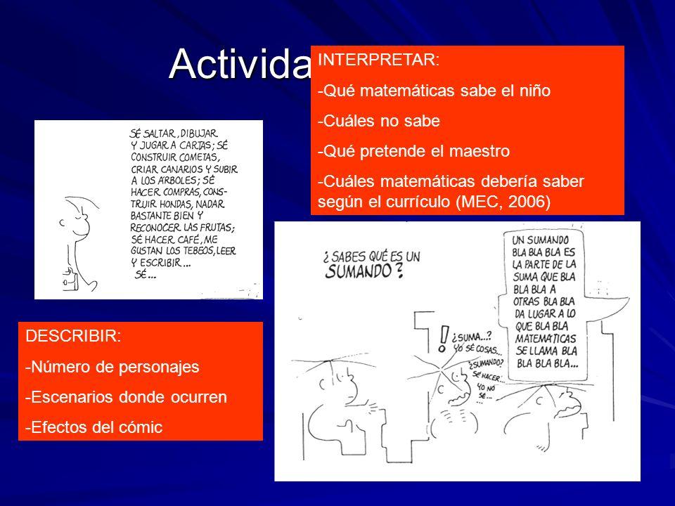 Actividad 1 (Frato) DESCRIBIR: -Número de personajes -Escenarios donde ocurren -Efectos del cómic INTERPRETAR: -Qué matemáticas sabe el niño -Cuáles n