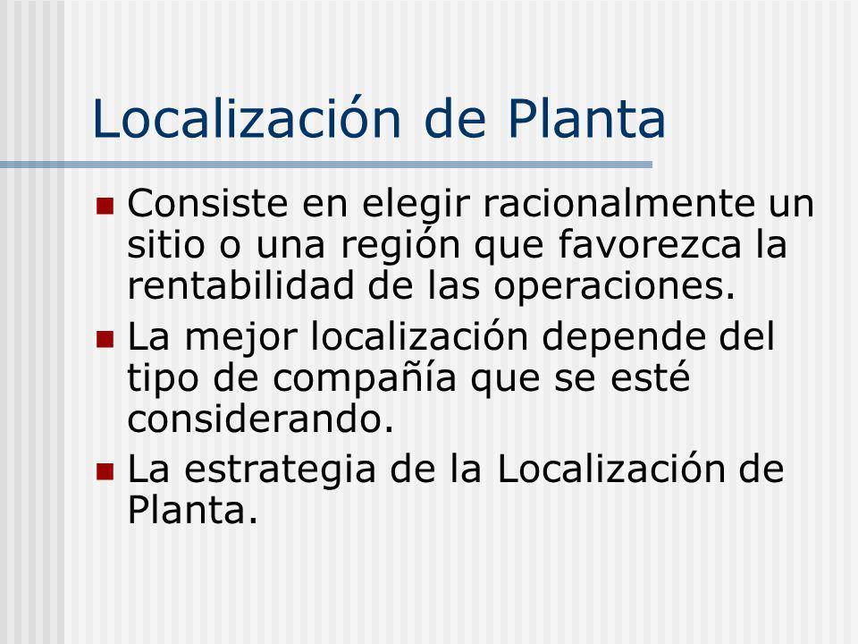 Localización de Planta Consiste en elegir racionalmente un sitio o una región que favorezca la rentabilidad de las operaciones. La mejor localización