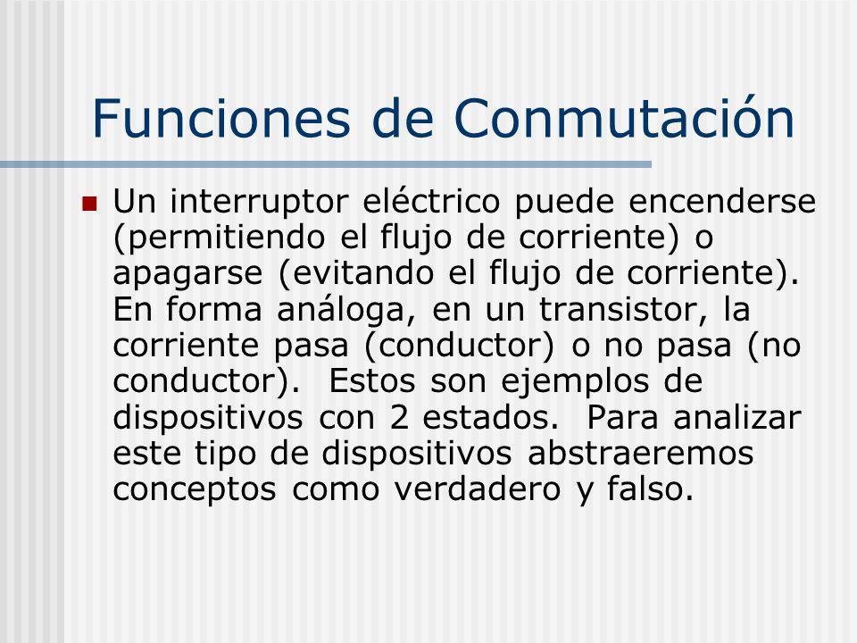 Funciones de Conmutación Un interruptor eléctrico puede encenderse (permitiendo el flujo de corriente) o apagarse (evitando el flujo de corriente). En