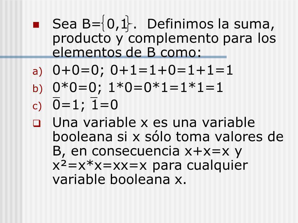 Sea B= 0,1. Definimos la suma, producto y complemento para los elementos de B como: a) 0+0=0; 0+1=1+0=1+1=1 b) 0*0=0; 1*0=0*1=1*1=1 c) 0=1; 1=0 Una va