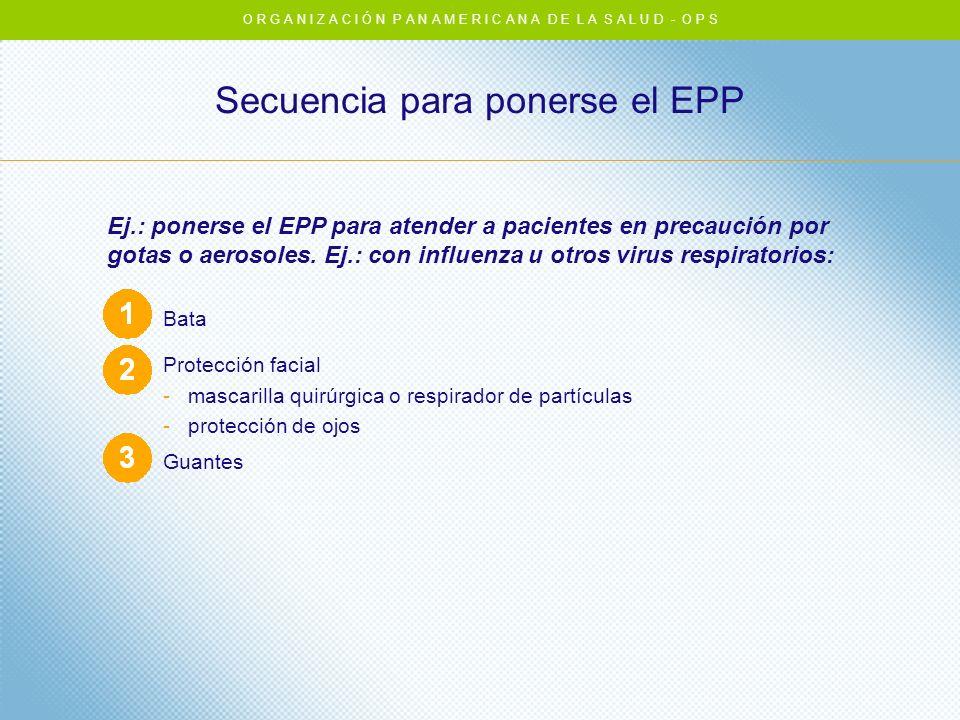 Secuencia para ponerse el EPP Ej.: ponerse el EPP para atender a pacientes en precaución por gotas o aerosoles. Ej.: con influenza u otros virus respi