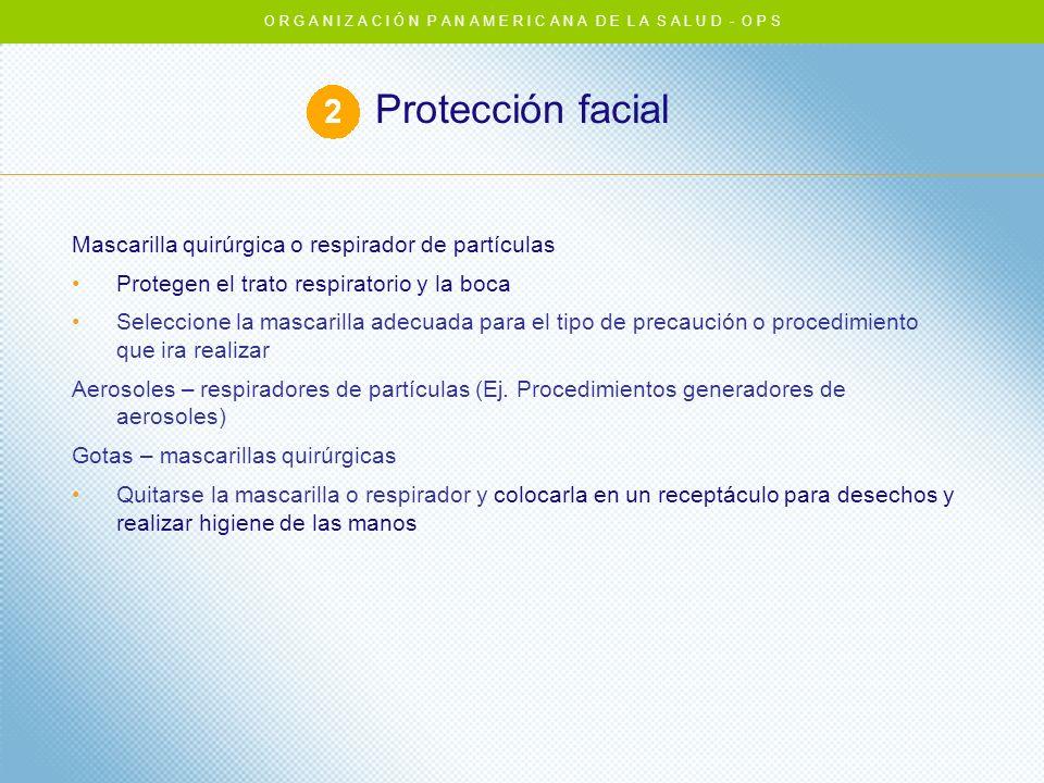 Protección facial Mascarilla quirúrgica o respirador de partículas Protegen el trato respiratorio y la boca Seleccione la mascarilla adecuada para el