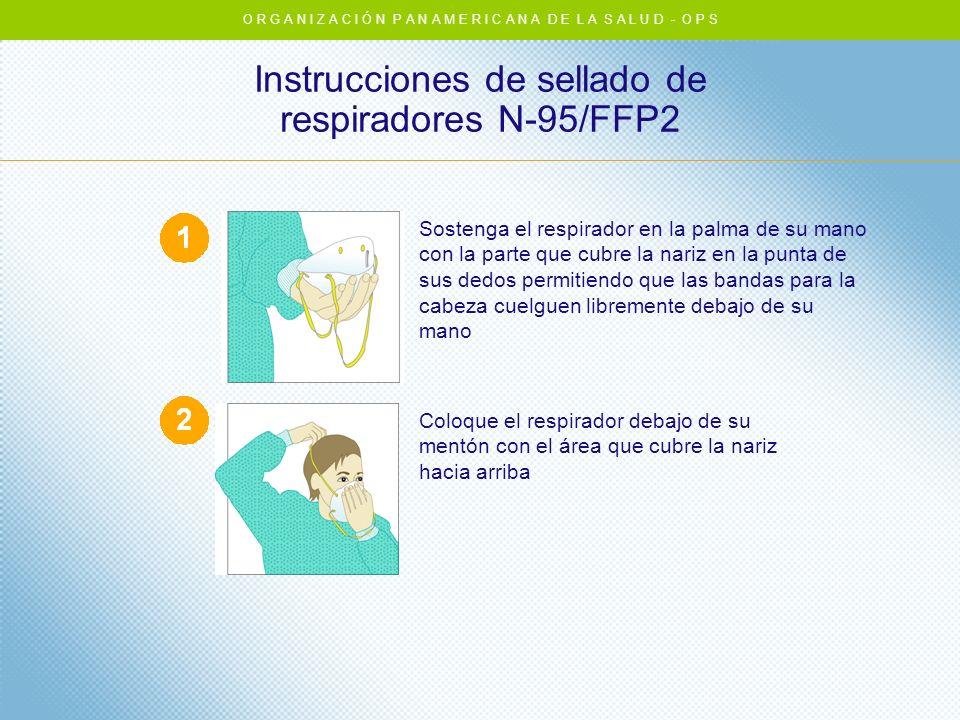 Instrucciones de sellado de respiradores N-95/FFP2 Sostenga el respirador en la palma de su mano con la parte que cubre la nariz en la punta de sus de