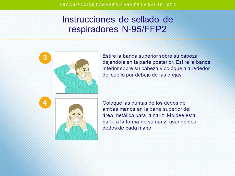 Instrucciones de sellado de respiradores N-95/FFP2 Estire la banda superior sobre su cabeza dejándola en la parte posterior. Estire la banda inferior