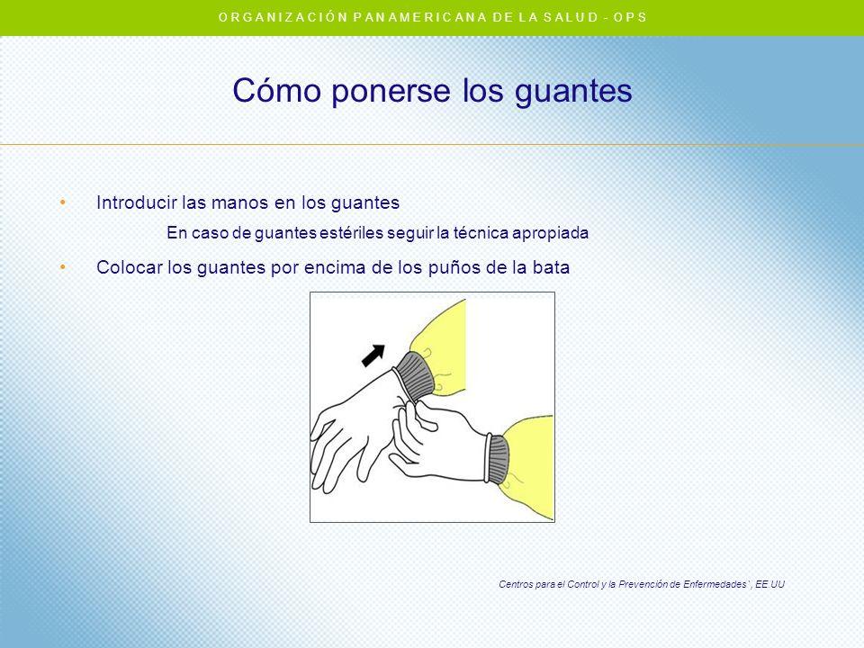 Cómo ponerse los guantes Introducir las manos en los guantes En caso de guantes estériles seguir la técnica apropiada Colocar los guantes por encima d