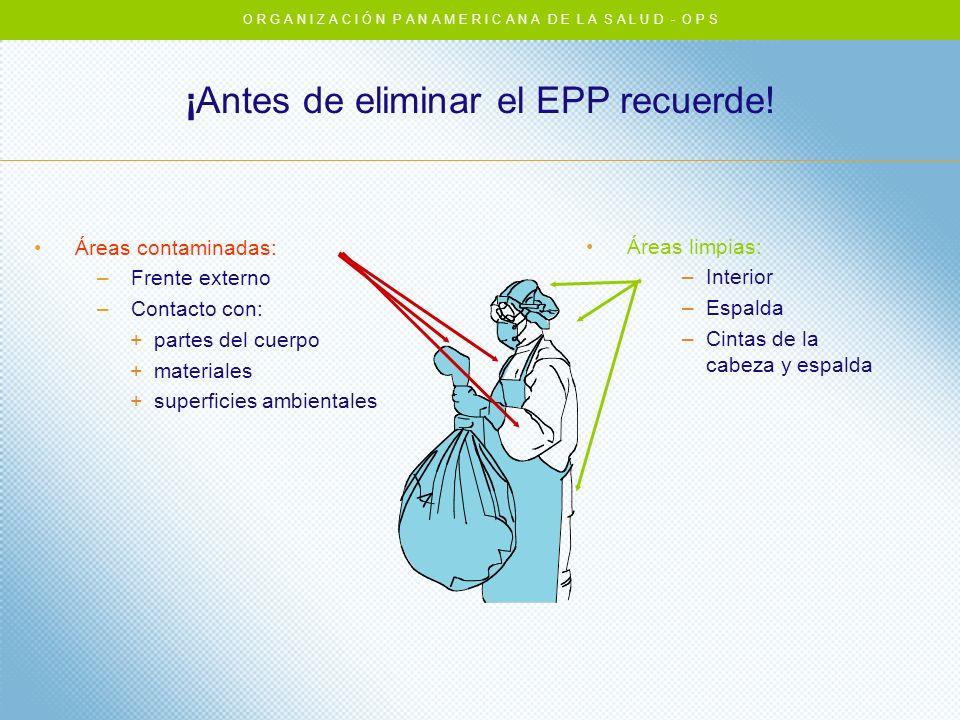 Áreas contaminadas: –Frente externo –Contacto con: +partes del cuerpo +materiales +superficies ambientales ¡Antes de eliminar el EPP recuerde! Áreas l