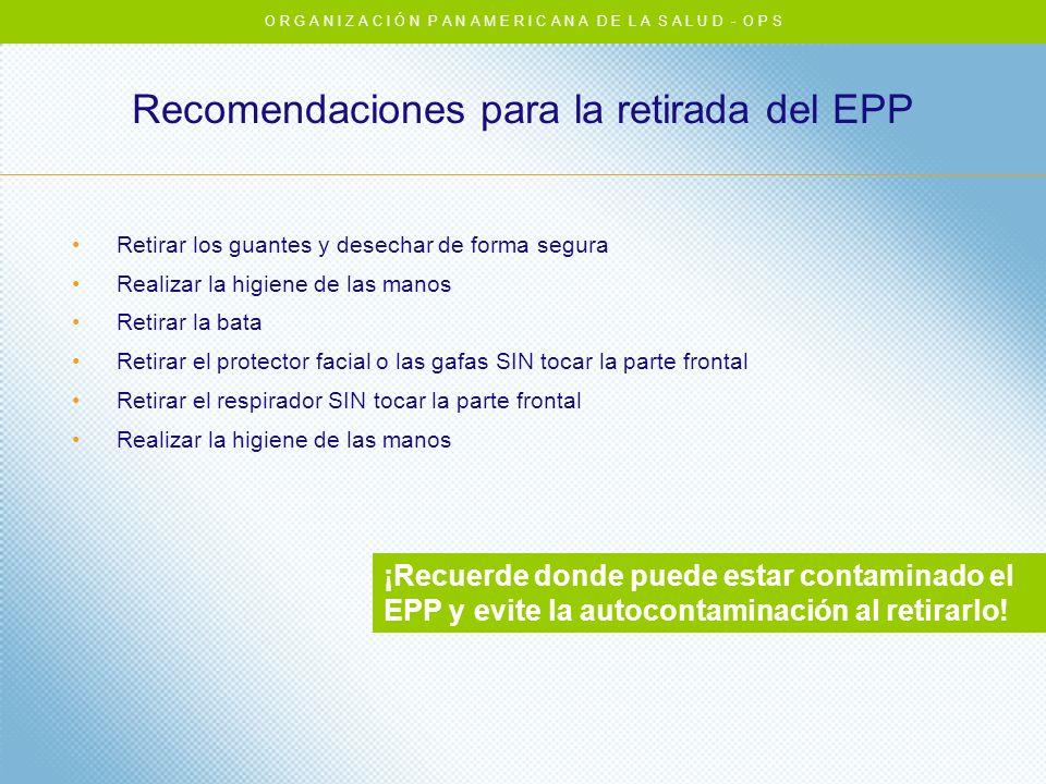 Recomendaciones para la retirada del EPP Retirar los guantes y desechar de forma segura Realizar la higiene de las manos Retirar la bata Retirar el pr