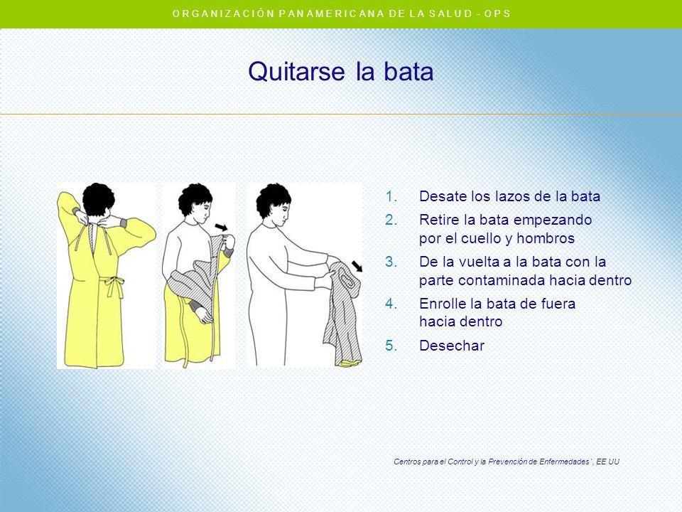 Quitarse la bata Centros para el Control y la Prevención de Enfermedades`, EE.UU 1.Desate los lazos de la bata 2.Retire la bata empezando por el cuell