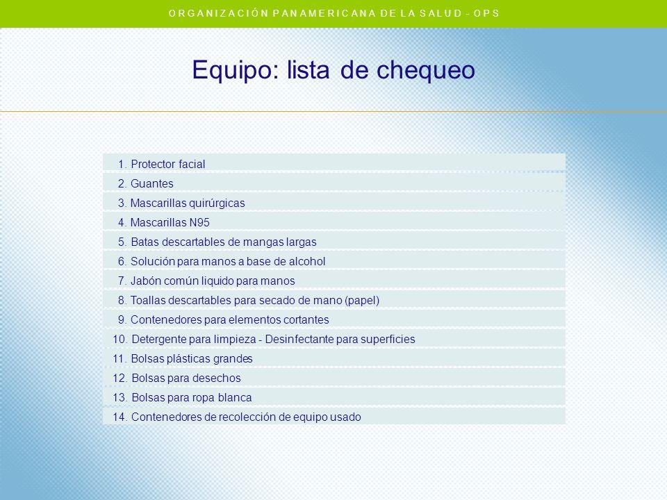 Equipo: lista de chequeo O R G A N I Z A C I Ó N P A N A M E R I C A N A D E L A S A L U D - O P S 1. Protector facial 2. Guantes 3. Mascarillas quirú