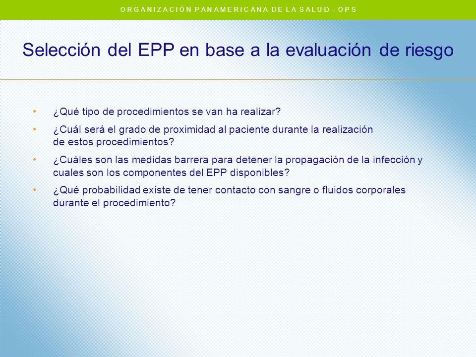 Selección del EPP en base a la evaluación de riesgo ¿Qué tipo de procedimientos se van ha realizar? ¿Cuál será el grado de proximidad al paciente dura