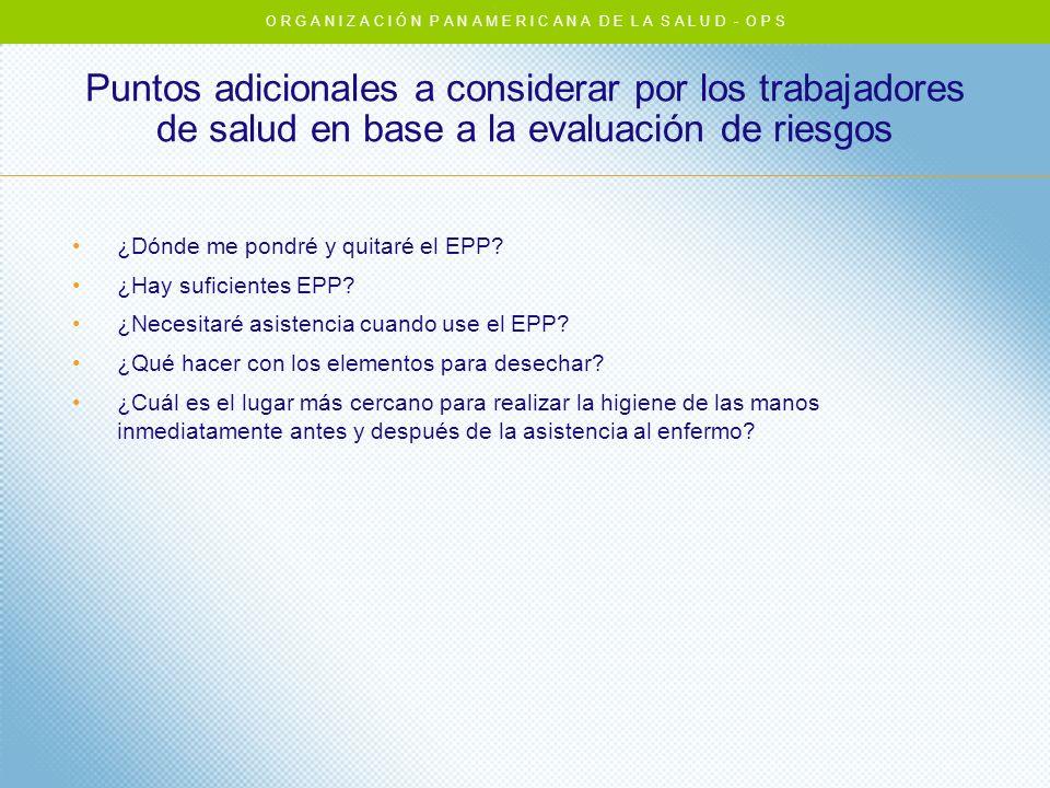¿Dónde me pondré y quitaré el EPP? ¿Hay suficientes EPP? ¿Necesitaré asistencia cuando use el EPP? ¿Qué hacer con los elementos para desechar? ¿Cuál e