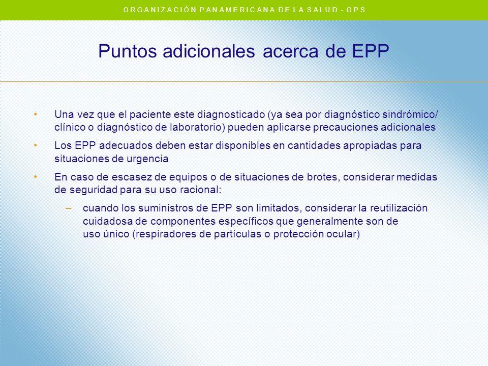 Puntos adicionales acerca de EPP Una vez que el paciente este diagnosticado (ya sea por diagnóstico sindrómico/ clínico o diagnóstico de laboratorio)