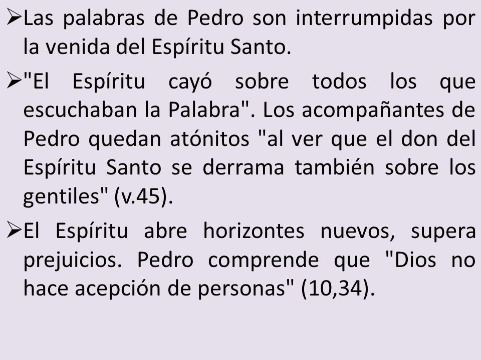 Las palabras de Pedro son interrumpidas por la venida del Espíritu Santo.
