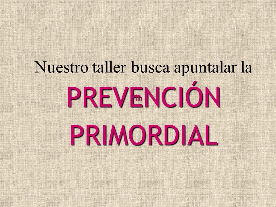Nuestro taller busca apuntalar la PREVENCIÓN PRIMORDIAL Fin