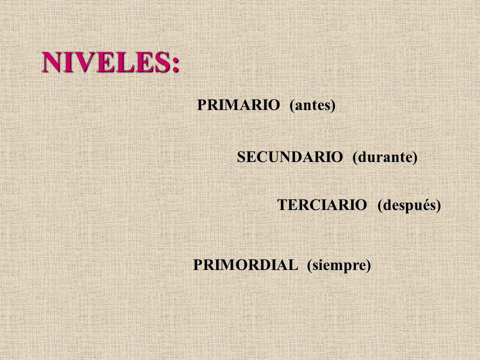 NIVELES: PRIMARIO (antes) SECUNDARIO (durante) TERCIARIO (después) PRIMORDIAL (siempre)