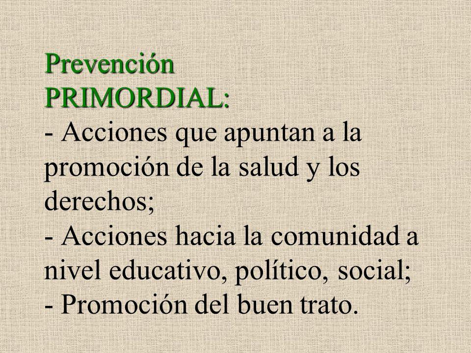 Prevención PRIMORDIAL: - Acciones que apuntan a la promoción de la salud y los derechos; - Acciones hacia la comunidad a nivel educativo, político, so