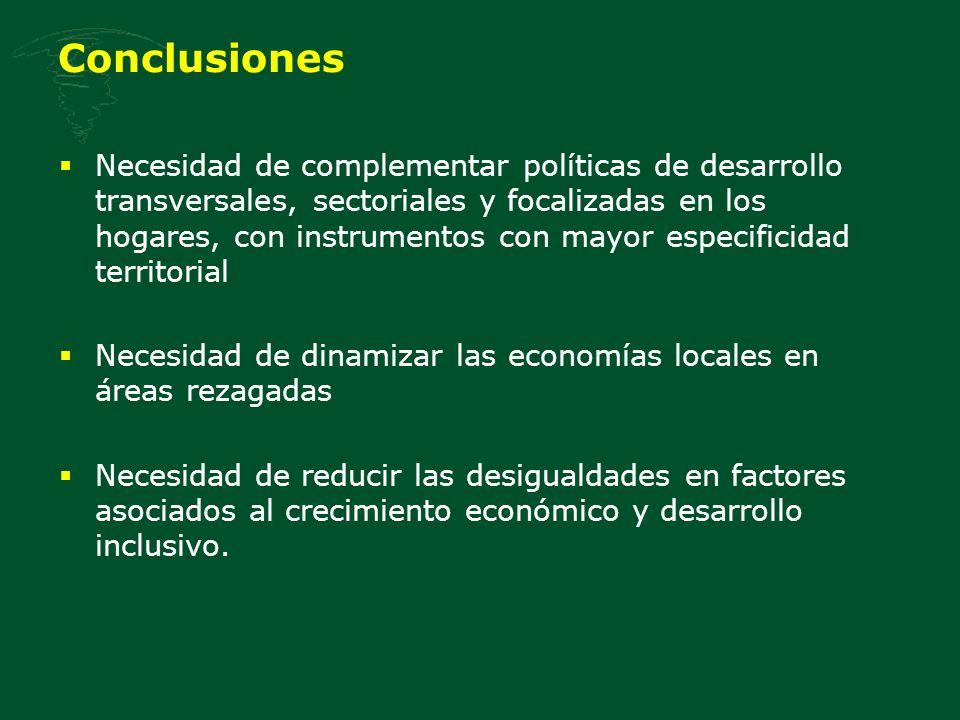 Conclusiones Necesidad de complementar políticas de desarrollo transversales, sectoriales y focalizadas en los hogares, con instrumentos con mayor esp