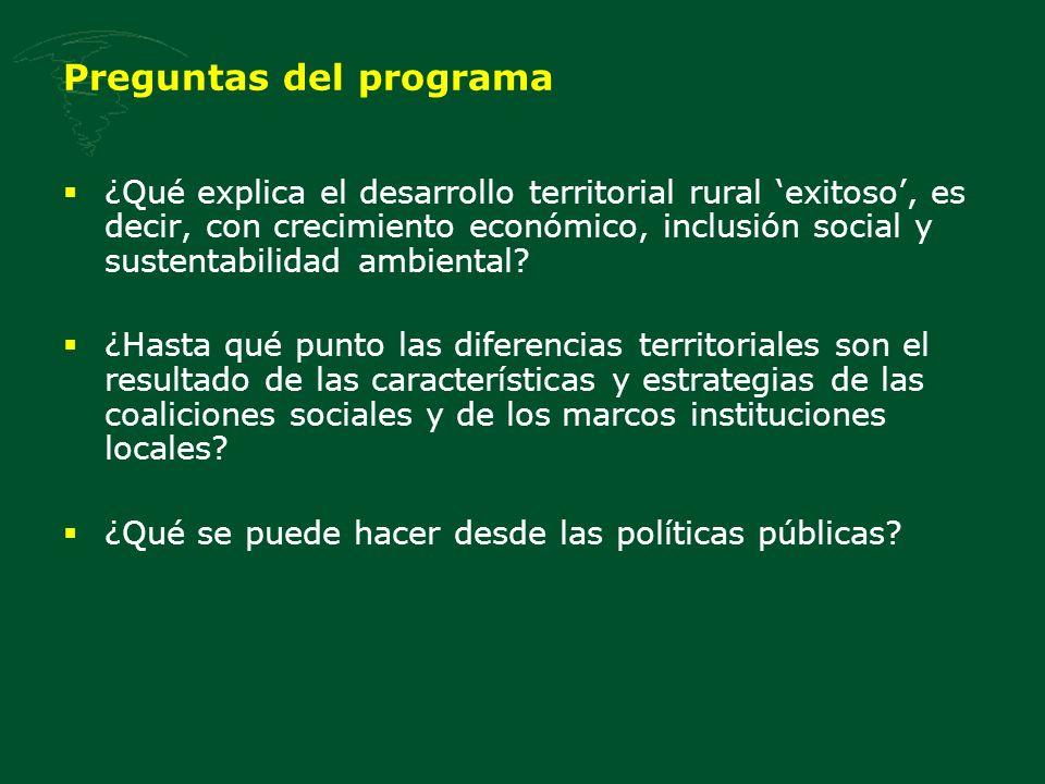 Preguntas del programa ¿Qué explica el desarrollo territorial rural exitoso, es decir, con crecimiento económico, inclusión social y sustentabilidad a