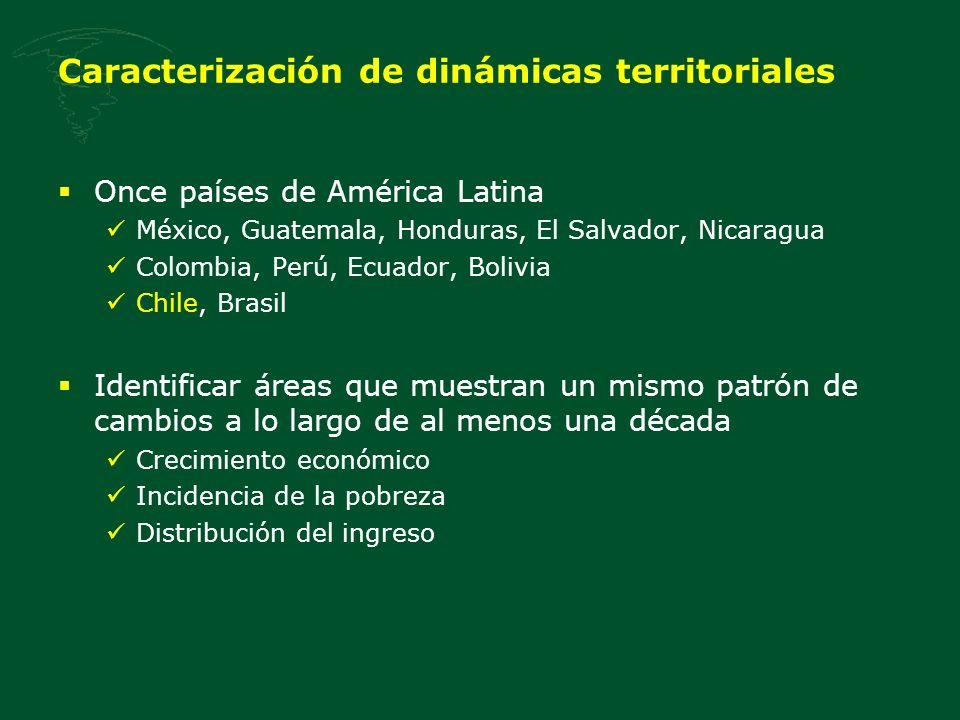 Chile en los 90s Tendencias agregadas nacionales Acelerado crecimiento económico Fuerte reducción de la pobreza Persistencia de altos niveles de concentración del ingreso ¿El mismo comportamiento a lo largo del territorio nacional?