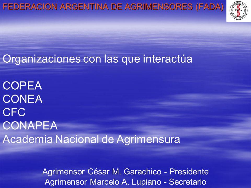 FEDERACION ARGENTINA DE AGRIMENSORES (FADA) Agrimensor César M. Garachico - Presidente Agrimensor Marcelo A. Lupiano - Secretario Organizaciones con l