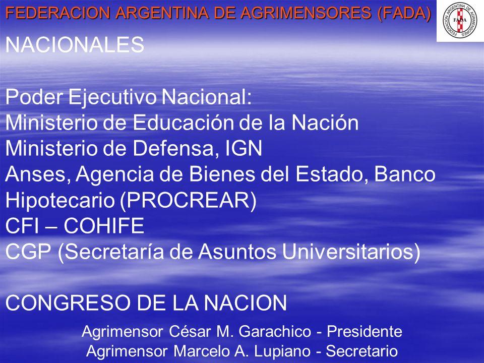 FEDERACION ARGENTINA DE AGRIMENSORES (FADA) Agrimensor César M. Garachico - Presidente Agrimensor Marcelo A. Lupiano - Secretario NACIONALES Poder Eje