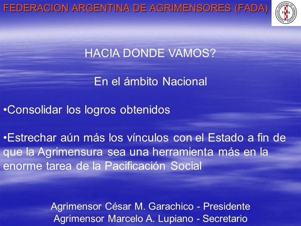 FEDERACION ARGENTINA DE AGRIMENSORES (FADA) Agrimensor César M. Garachico - Presidente Agrimensor Marcelo A. Lupiano - Secretario HACIA DONDE VAMOS? E