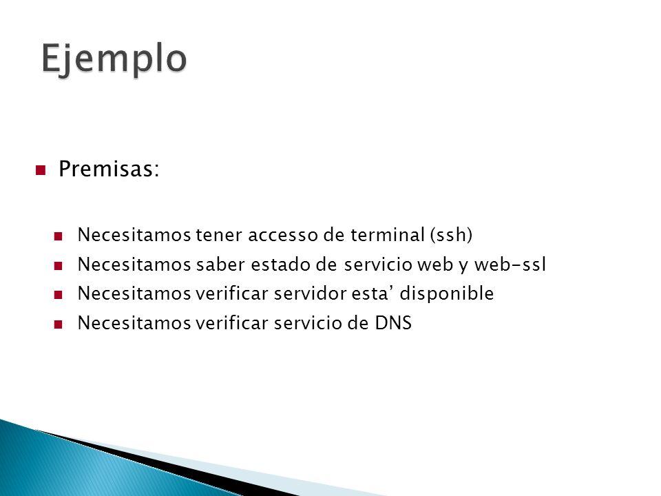 Premisas: Necesitamos tener accesso de terminal (ssh) Necesitamos saber estado de servicio web y web-ssl Necesitamos verificar servidor esta disponible Necesitamos verificar servicio de DNS