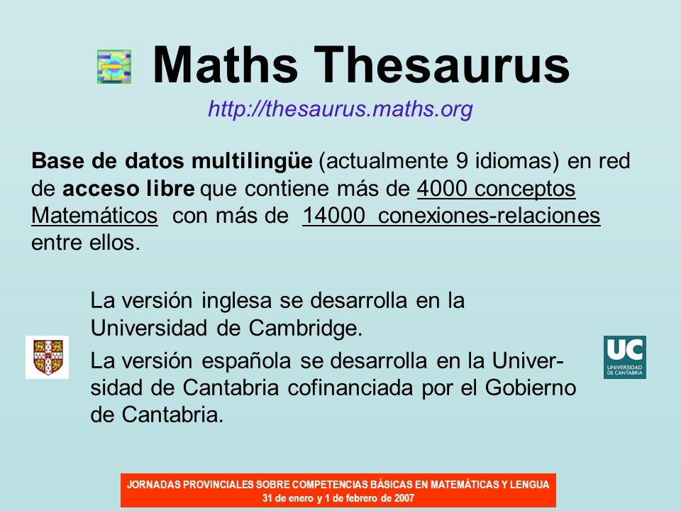JORNADAS PROVINCIALES SOBRE COMPETENCIAS BÁSICAS EN MATEMÁTICAS Y LENGUA 31 de enero y 1 de febrero de 2007 Maths Thesaurus http://thesaurus.maths.org