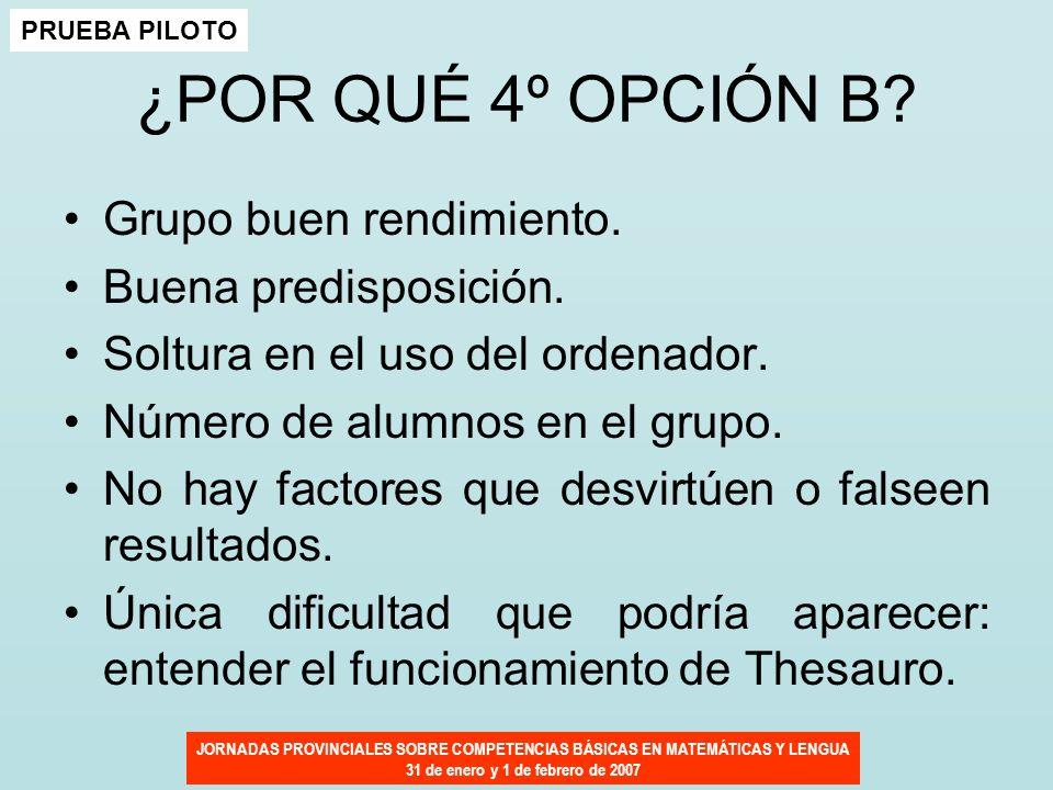 JORNADAS PROVINCIALES SOBRE COMPETENCIAS BÁSICAS EN MATEMÁTICAS Y LENGUA 31 de enero y 1 de febrero de 2007 ¿POR QUÉ 4º OPCIÓN B? Grupo buen rendimien