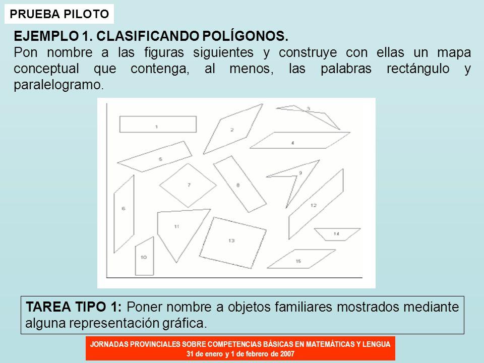 JORNADAS PROVINCIALES SOBRE COMPETENCIAS BÁSICAS EN MATEMÁTICAS Y LENGUA 31 de enero y 1 de febrero de 2007 PRUEBA PILOTO EJEMPLO 1. CLASIFICANDO POLÍ