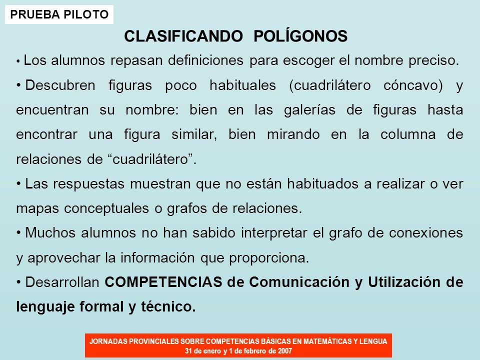 JORNADAS PROVINCIALES SOBRE COMPETENCIAS BÁSICAS EN MATEMÁTICAS Y LENGUA 31 de enero y 1 de febrero de 2007 PRUEBA PILOTO CLASIFICANDO POLÍGONOS Los a
