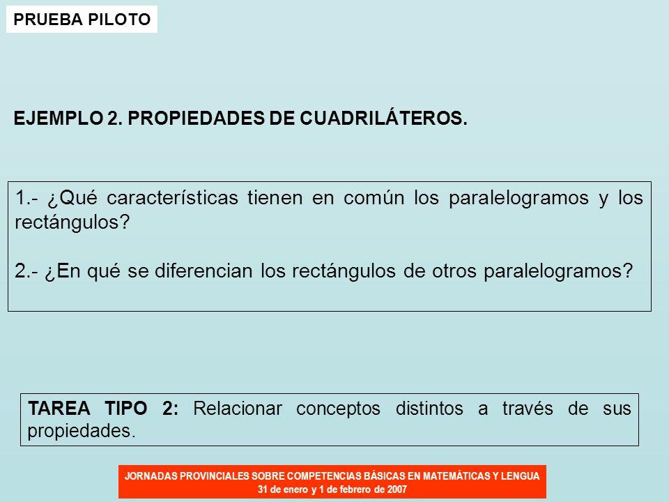 JORNADAS PROVINCIALES SOBRE COMPETENCIAS BÁSICAS EN MATEMÁTICAS Y LENGUA 31 de enero y 1 de febrero de 2007 PRUEBA PILOTO EJEMPLO 2. PROPIEDADES DE CU