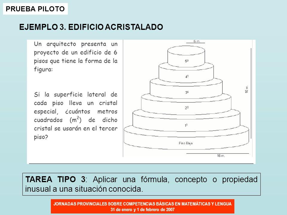 JORNADAS PROVINCIALES SOBRE COMPETENCIAS BÁSICAS EN MATEMÁTICAS Y LENGUA 31 de enero y 1 de febrero de 2007 PRUEBA PILOTO EJEMPLO 3. EDIFICIO ACRISTAL