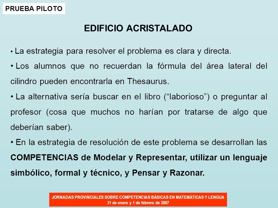 JORNADAS PROVINCIALES SOBRE COMPETENCIAS BÁSICAS EN MATEMÁTICAS Y LENGUA 31 de enero y 1 de febrero de 2007 PRUEBA PILOTO EDIFICIO ACRISTALADO La estr
