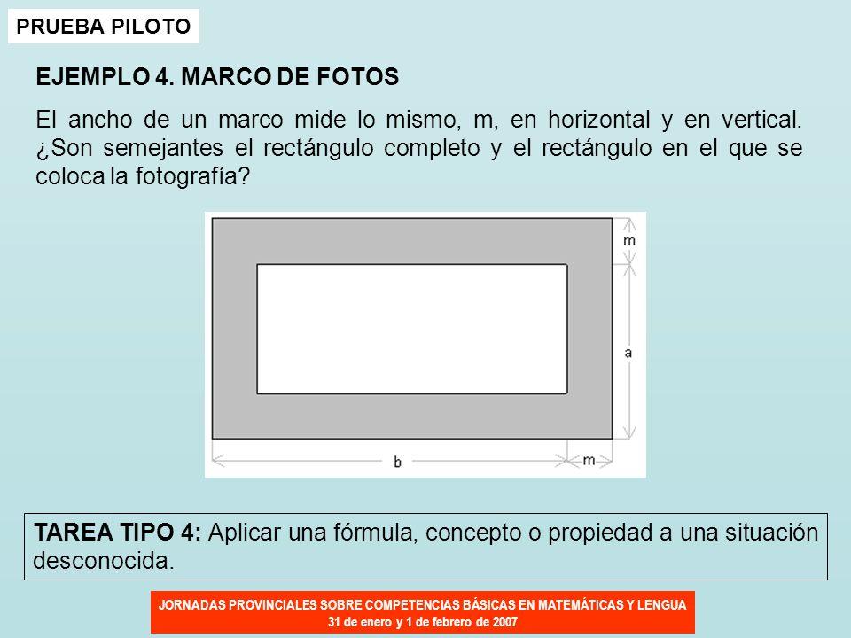JORNADAS PROVINCIALES SOBRE COMPETENCIAS BÁSICAS EN MATEMÁTICAS Y LENGUA 31 de enero y 1 de febrero de 2007 EJEMPLO 4. MARCO DE FOTOS El ancho de un m