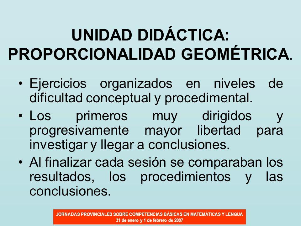 JORNADAS PROVINCIALES SOBRE COMPETENCIAS BÁSICAS EN MATEMÁTICAS Y LENGUA 31 de enero y 1 de febrero de 2007 UNIDAD DIDÁCTICA: PROPORCIONALIDAD GEOMÉTR