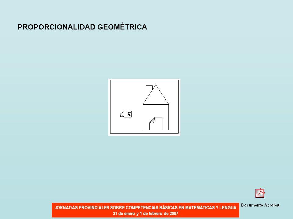 JORNADAS PROVINCIALES SOBRE COMPETENCIAS BÁSICAS EN MATEMÁTICAS Y LENGUA 31 de enero y 1 de febrero de 2007 PROPORCIONALIDAD GEOMÉTRICA